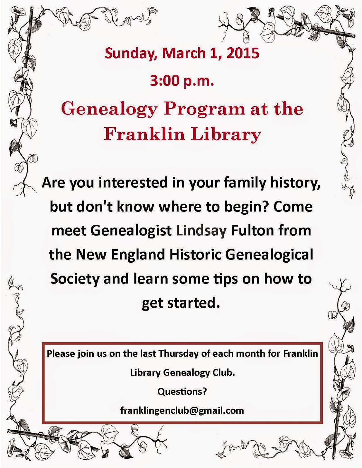 getting started in geneology - Mar 1