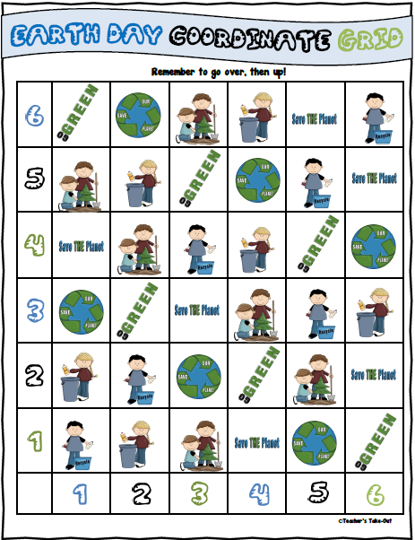 Free Earth Day Coordinate Grid