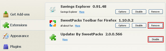 How to Remove Start Sweetpacks and Sweetpacks Toolbar