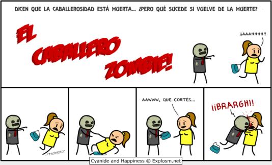 Viñeta Cyanide & Happiness: El caballero zombie