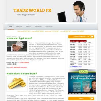 Trade World blogger template. template forex for blogger