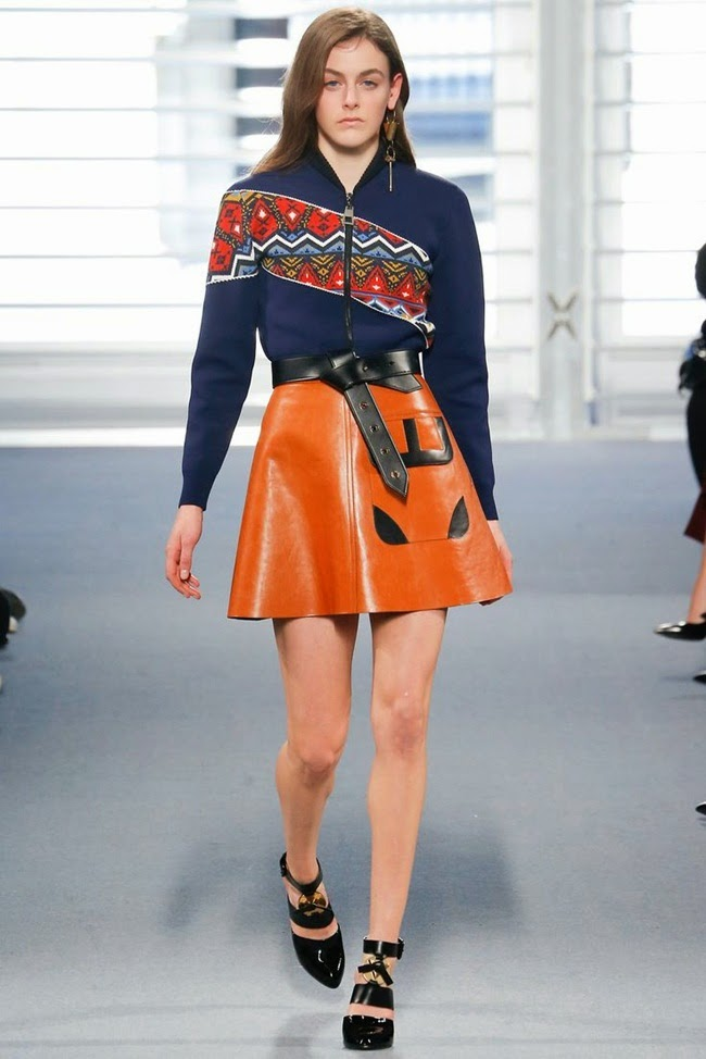 Louis Vuitton 2014 AW:Nordic Style Knitwear with A-line Leather Mini Skirt