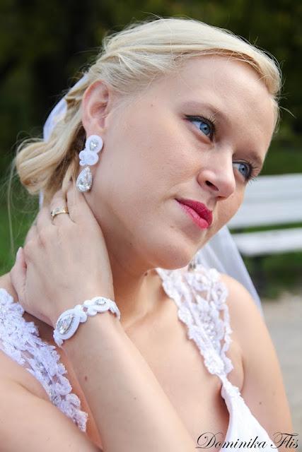 Komplet ślubny sutasz - bransoletka i kolczyki