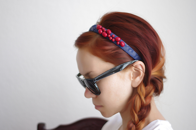 DIY Beaded Statement Headband created by Xenia Kuhn for FashionRolla.com
