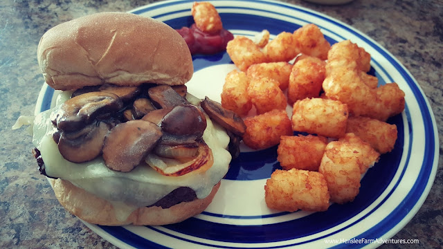 Mushroom Swiss Burger with Tator Tots