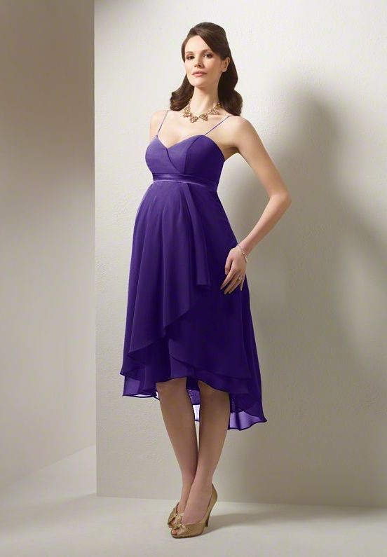 purple tea-length maternity bridesmaid dresses