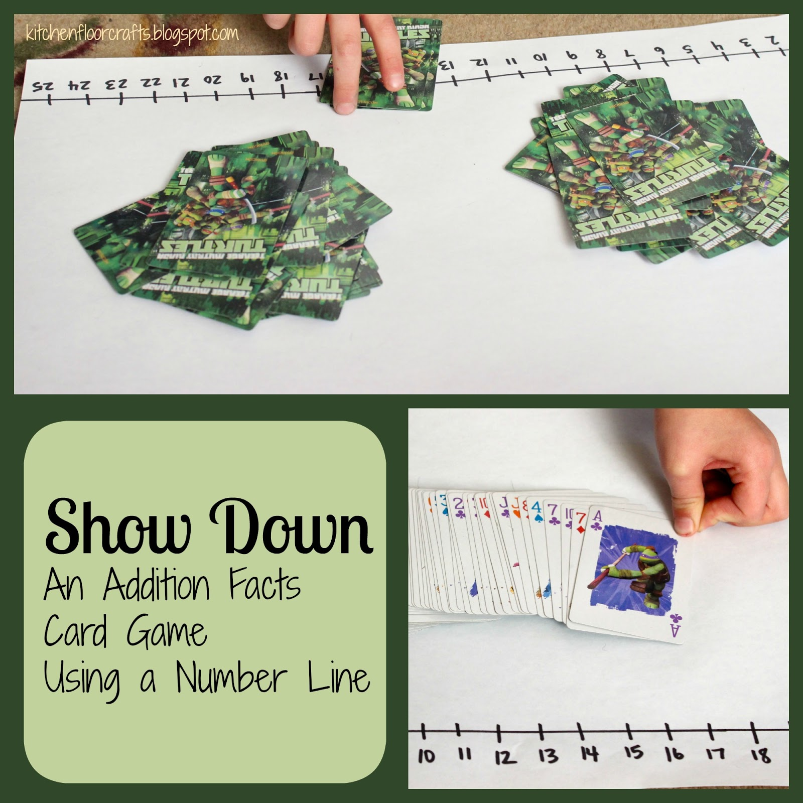 Kitchen Floor Crafts: Show Down: Addition Facts Card Game