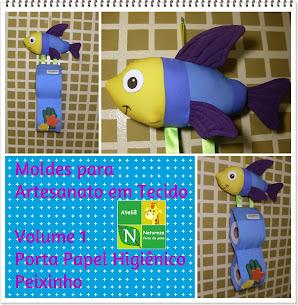Apostila Digital/Moldes para Artesanato em Tecido Volume 1 Porta Papel Higiênico de Peixinho