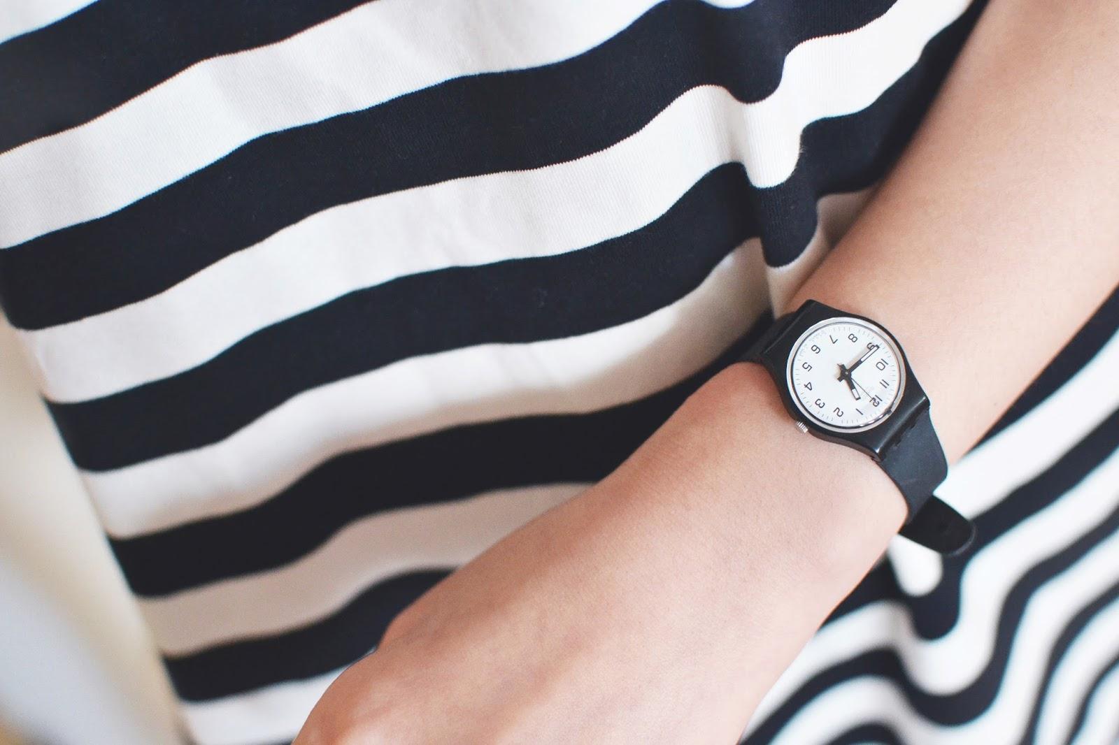 swatch watch, black watch