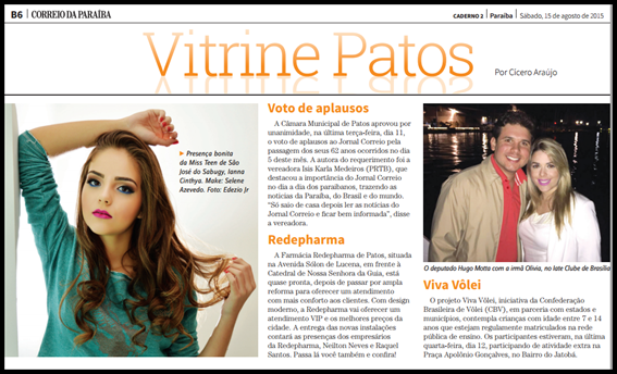 Miss Eco Teen são-joseense foi destaque do jornal Correio da Paraíba deste sábado, 15 de Agosto 2015.