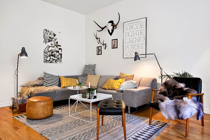 This Interior Is Filled With Some Amazing Pieces Of Danish Modern  Furniture. The Tones Of White, Grey, Black And Mustard Yellow Complement  The Color Of Wood ...