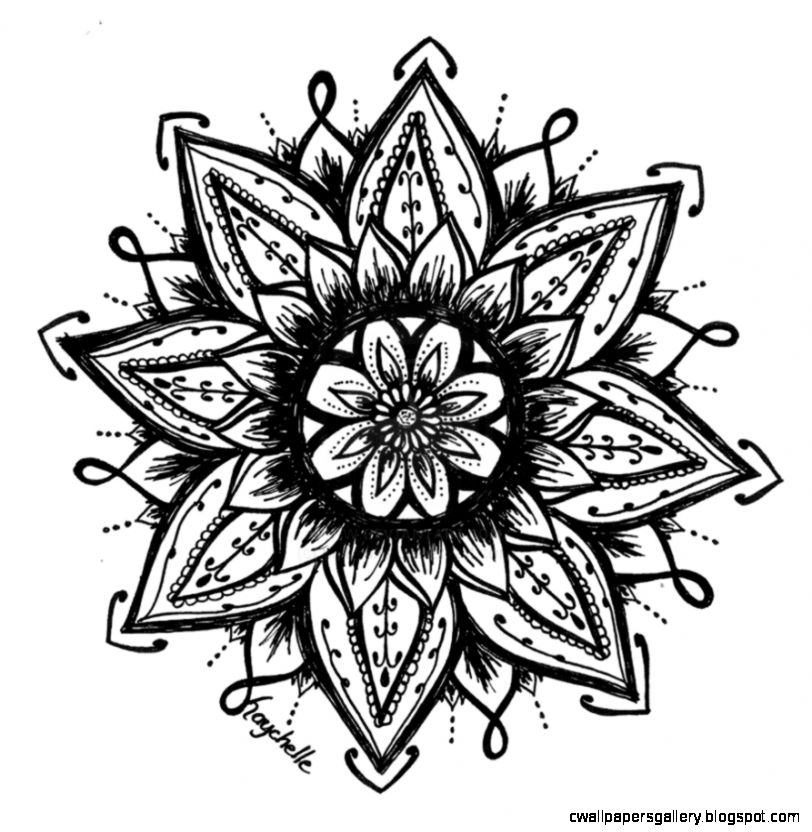 Henna Lotus Flower Drawing Sketch Coloring Page