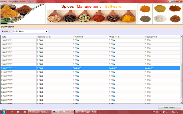 Daily Stock Report of Spices Software in Rajkot,Gujarat,India