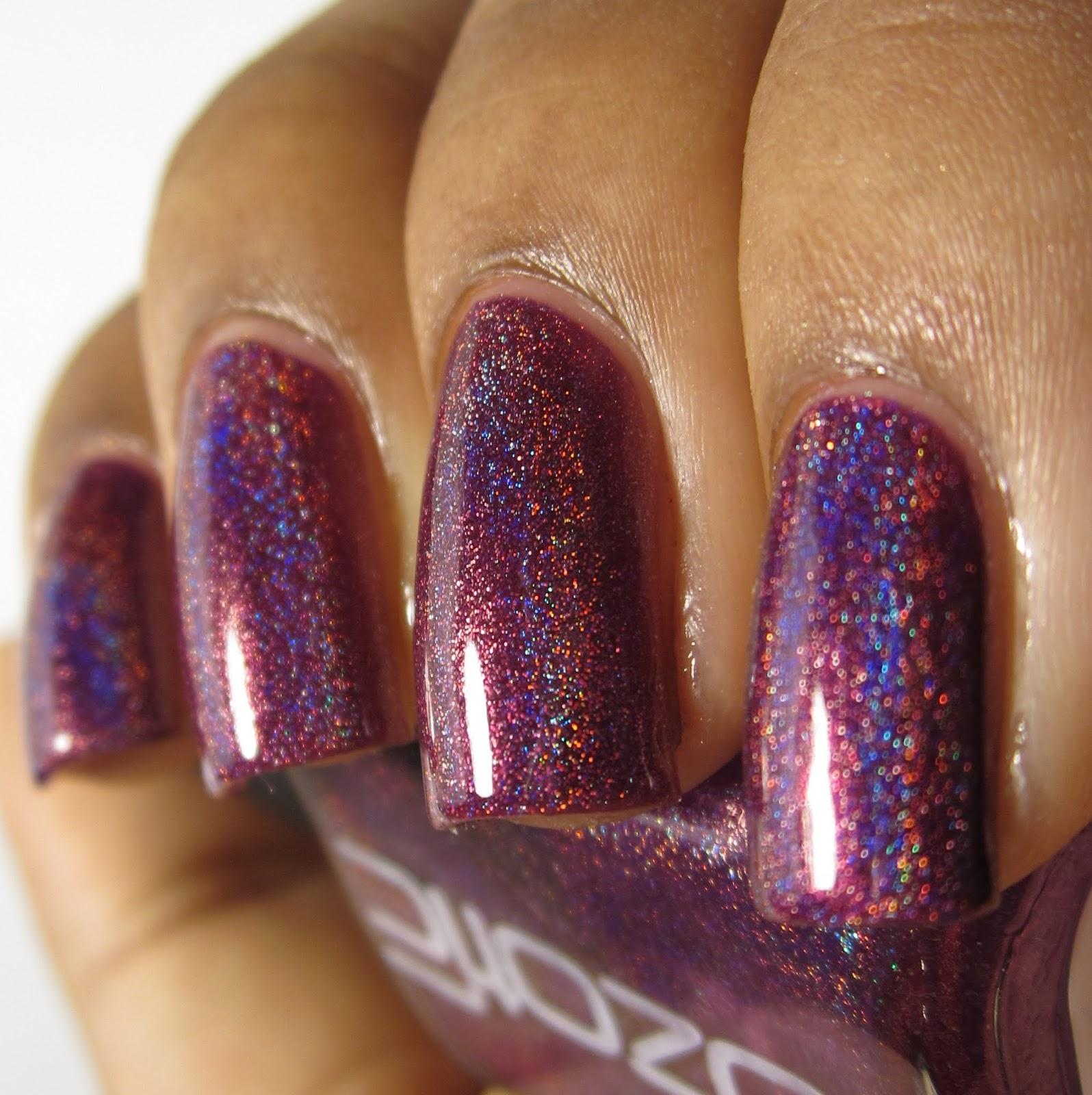 Ozotic Pro 513 purple holo nail polish swatch