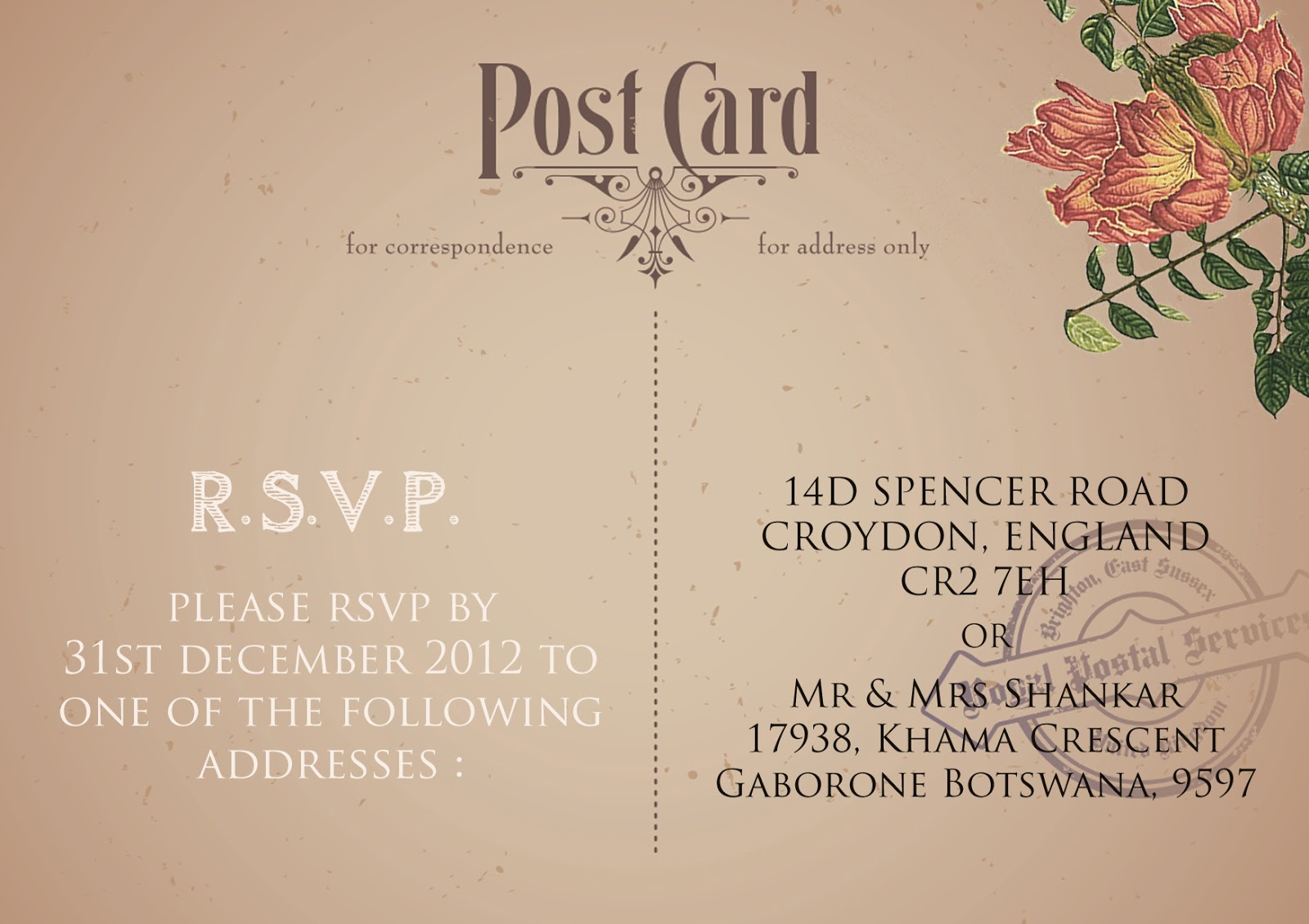 Vintage Colonial Themed Wedding & Invitations