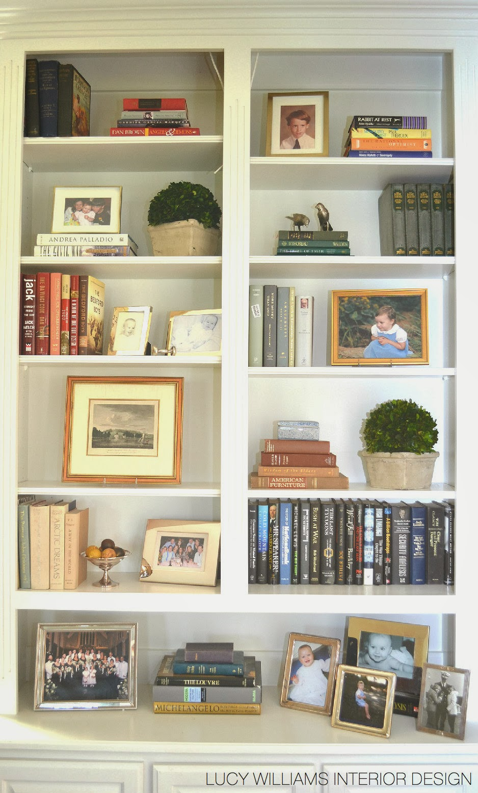 Lucy williams interior design blog before and after for How to decorate living room shelves