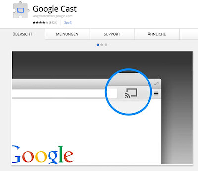 """Google Cast"" Chrome-Erweiterung (Screenshot: chrome.google.com)"