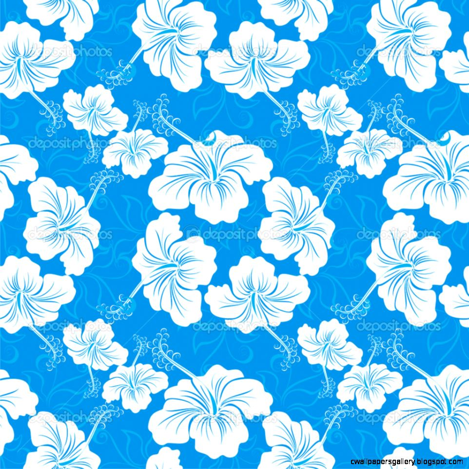 Seamless background with hibiscus flower Hawaiian patterns
