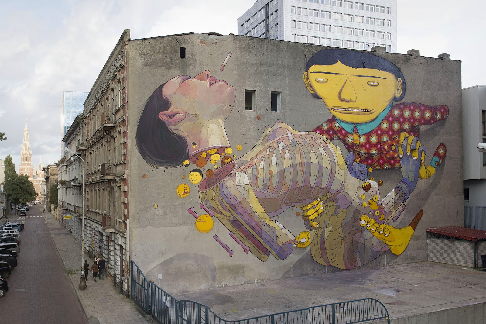 os gemeos x aryz new mural in lodz poland streetartnews streetartnews. Black Bedroom Furniture Sets. Home Design Ideas