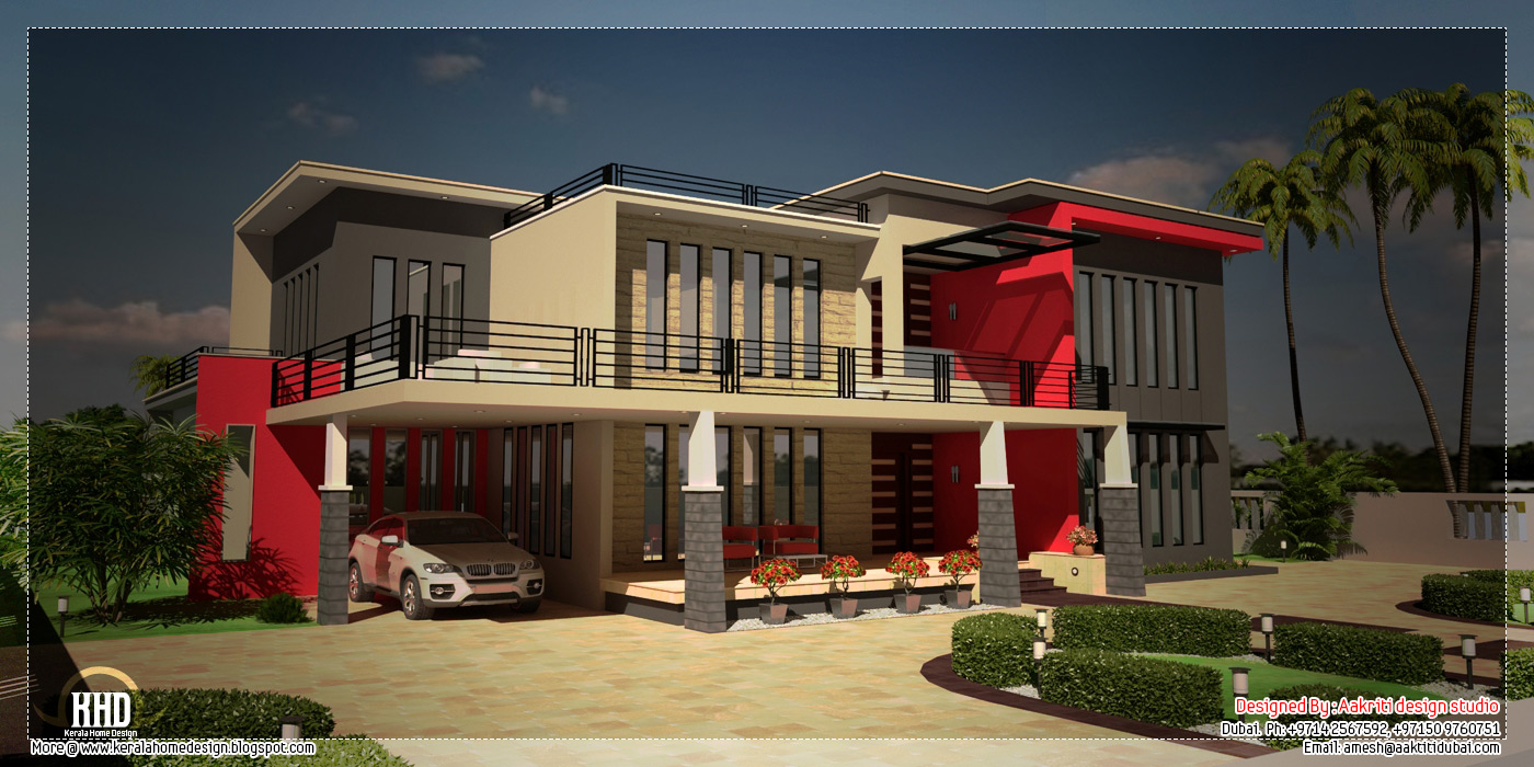 Beautiful contemporary luxury villa with floor plan a for Luxury contemporary house plans