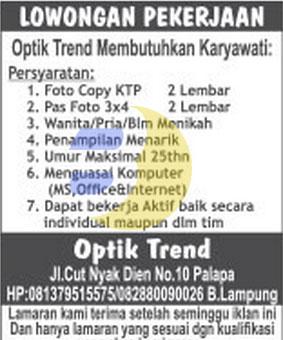 Karir Kerja di OPTIK TREND Lampung