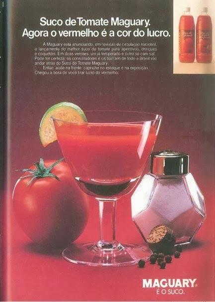 Propaganda dos Sucos Maguary nos anos 80 para promoção do seu novo sabor: Tomate.