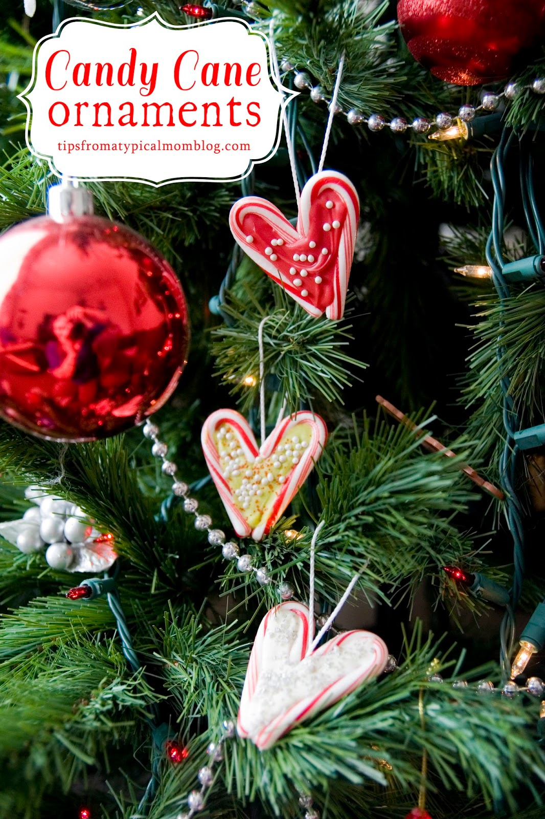 candy cane hearts edible christmas ornaments tutorial - Candy Ornaments For Christmas Tree