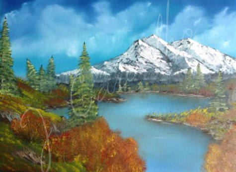 "J. Carvalho, ""Mountain Bliss"" - Oil Painting on Canvas"