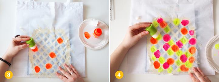 Etapes 3 et 4 - DIY tote bag ananas