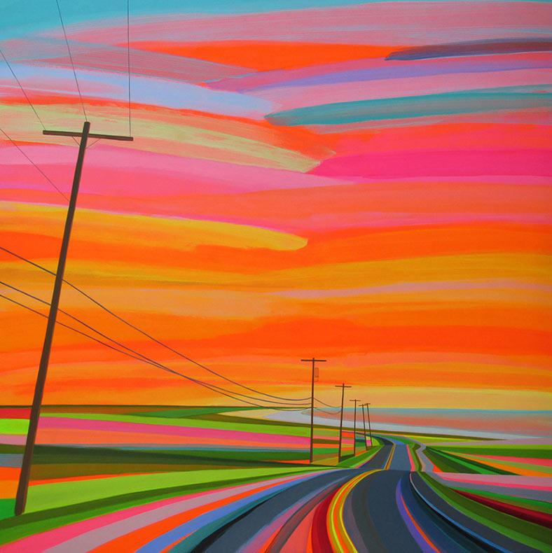 Coloridas pinturas technicolor capturan la libertad sin fin de los trayectos por las carreteras