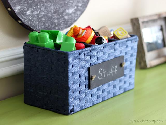 Cute storage basket with chalkboard label