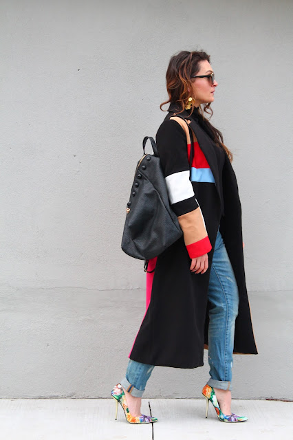blogerke, canadian fashion blogger, toronto blogger, Maxi coat, colorblock coat, winter outfit, how to wear maxi coat, outfit with coat, floral pumps, dugacki kaput, boyfriend jeans outfit