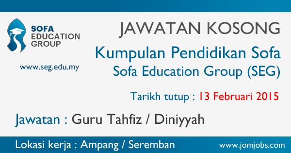 Jawatan Kosong Kumpulan Pendidikan Sofa 2015 di Ampang / Seremban