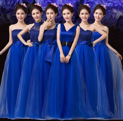 6-Design Royal Blue Tutu Maxi Bridesmaids Dress