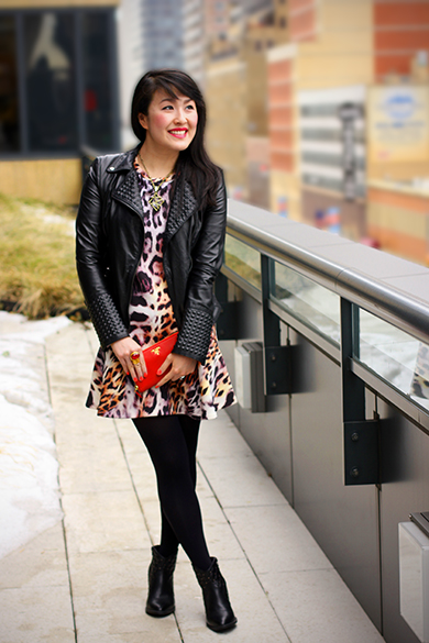 Zara moto studded leather jacket with Zara leopard print dress