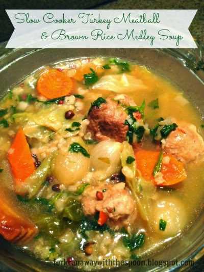 Slow Cooker Turkey Meatball  Brown Rice Soup