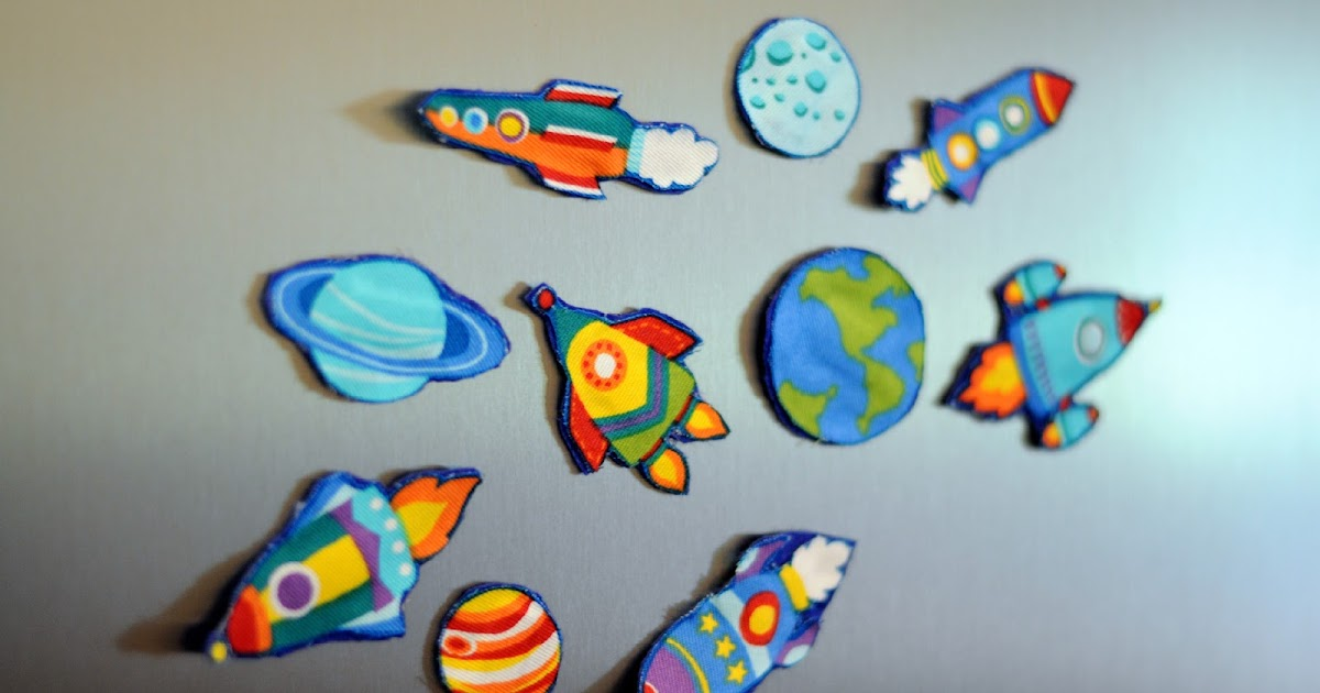 Space fabric fridge magnets craft sew love grow space for Space is not fabric