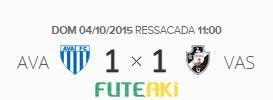 O placar de Avaí 1x1 Vasco pela 29ª rodada do Brasileirão 2015