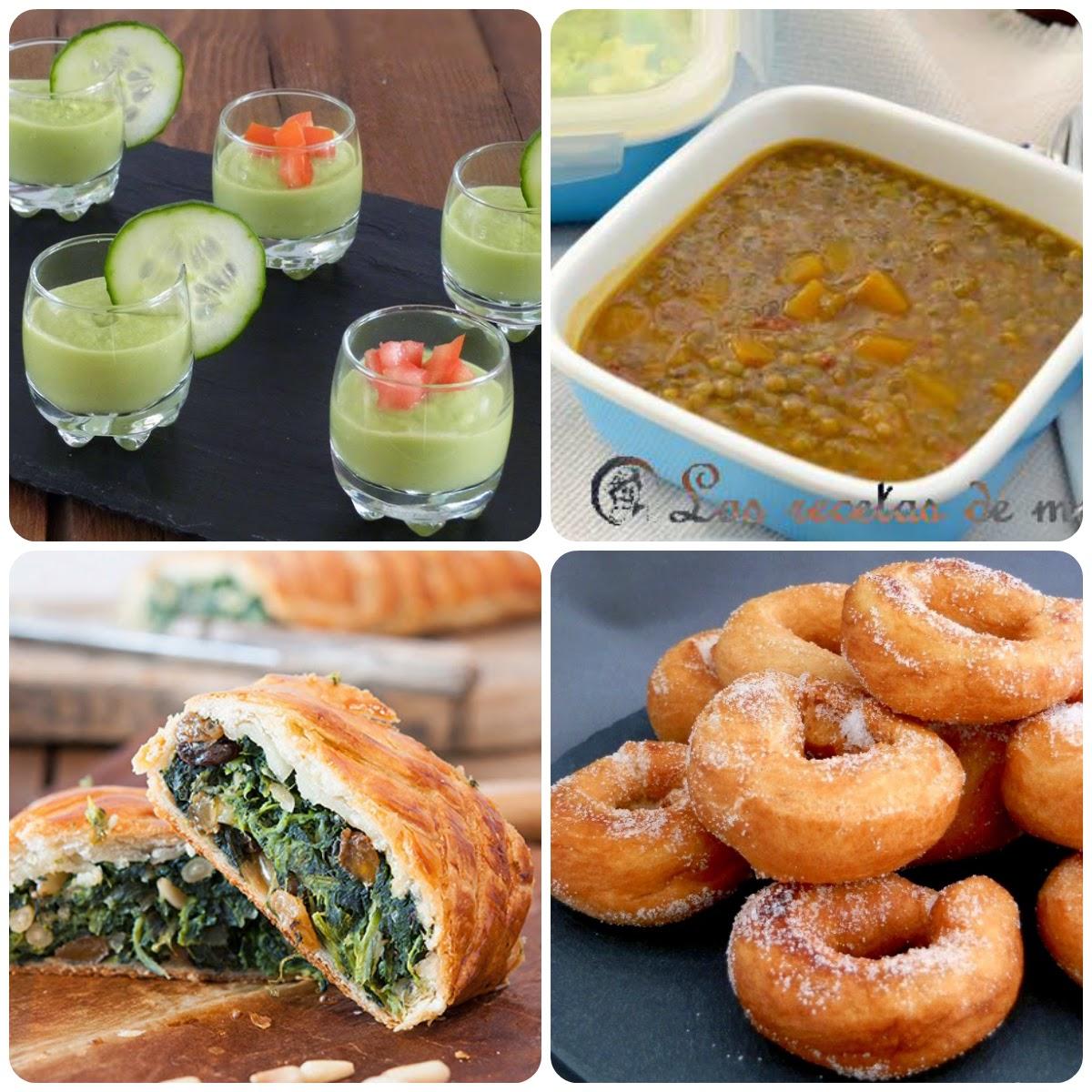 Platos del undécimo menú vegetariano con recetas de otros blogs.