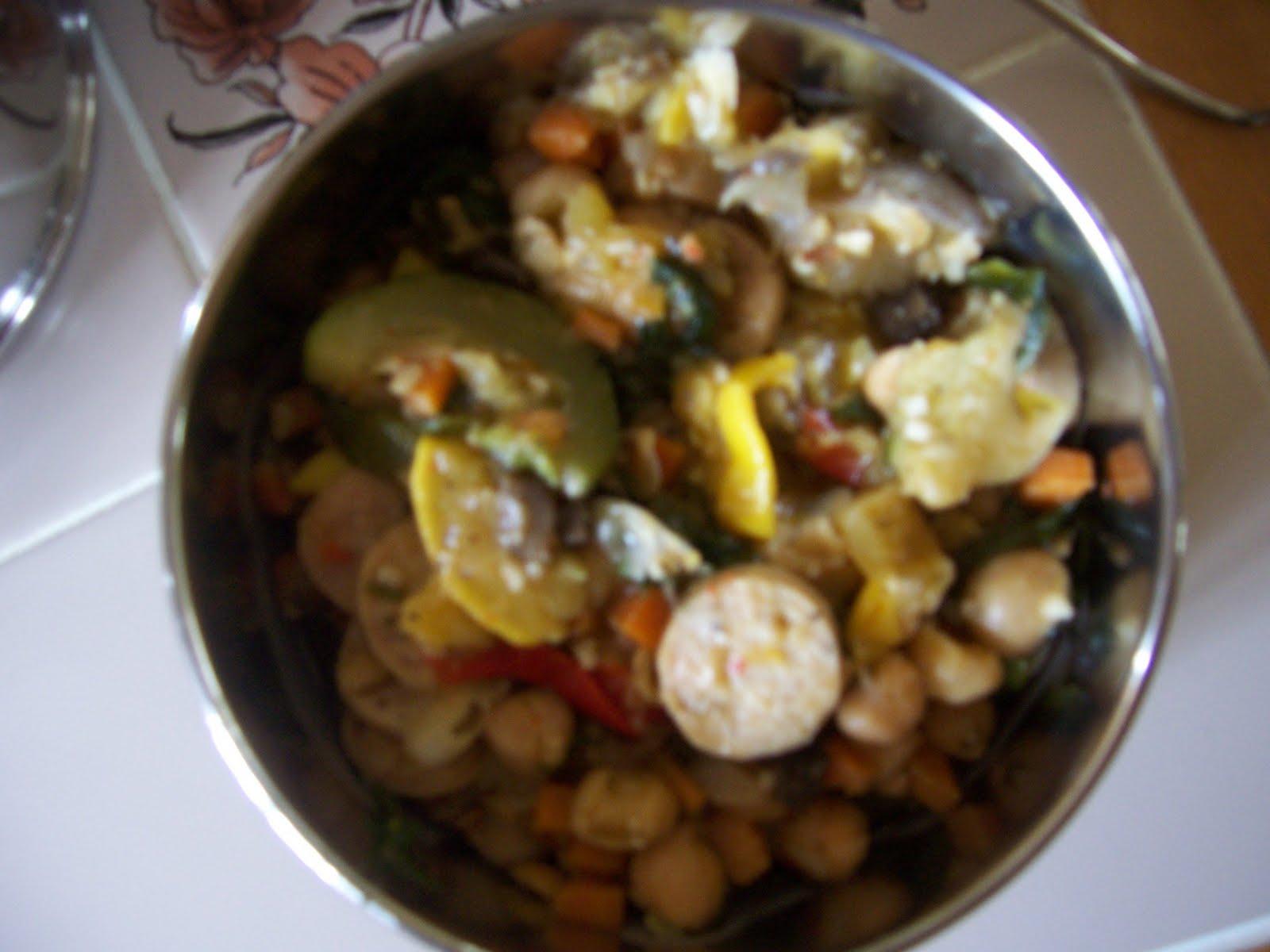 with Chicken Sausage, Chickpeas, Summer Squash, Zucchini, Eggplant ...