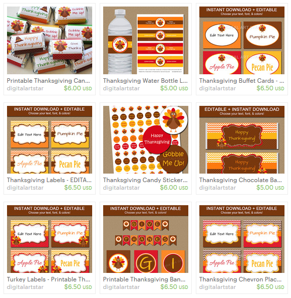 thanksgiving party decorations on etsy