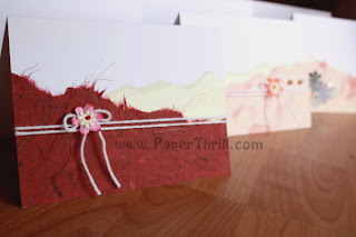 Pink flower handmade greeting cards