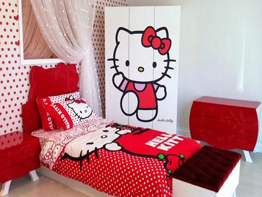 Desain Kamar Tidur Hello Kitty Menarik dan Lucu