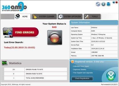 ������ 360Amigo System Speedup PRO 1.2.1.6400 ������ ����� ������ ��������