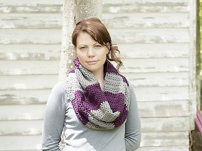 free crochet pattern bulky striped cowl