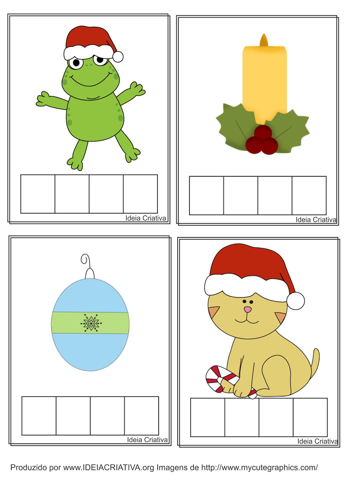 Flash Cards Formando Palavras Natal para Sala de Recursos