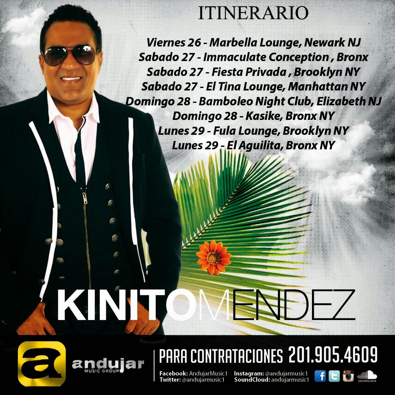 Itinerario Kinito Méndez 2014 USA