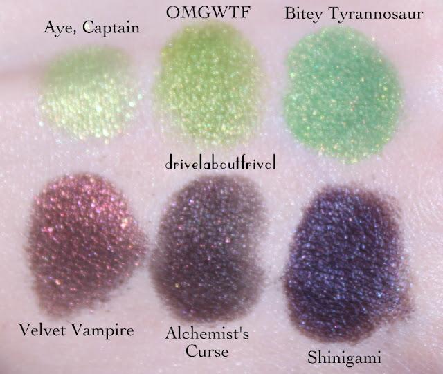 Fyrinnae swatches Aye Captain, OMGWTF, Bitey Tyrannosaur, Velvet Vampire, Alchemist's Curse, Shinigami