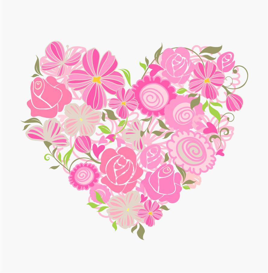ピンクの花ビラをハートに型どったクリップアート Pink Floral Heart Vector Graphic イラスト素材