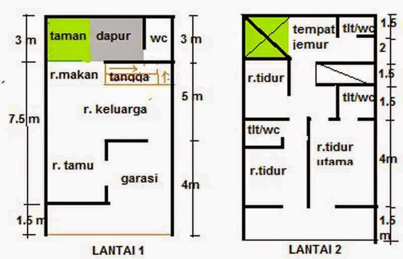 desain rumah minimalis 2 lantai luas tanah 60 meter foto
